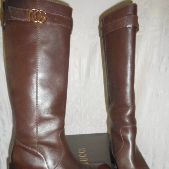 0b0f94fb2 Gucci Shoes | Lifford Gg Logo Tall Brown Riding Boots 39 9 | Poshmark